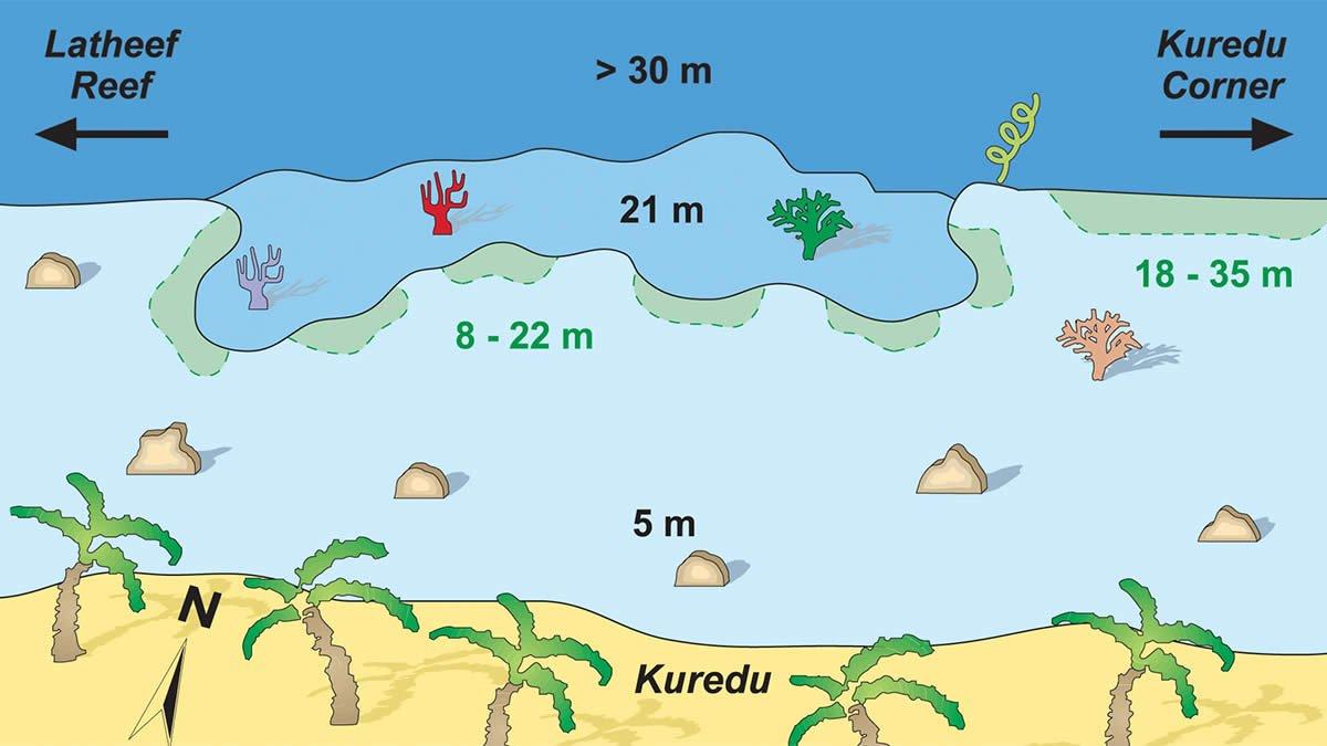 карта дайв-сайта Kuredu Caves