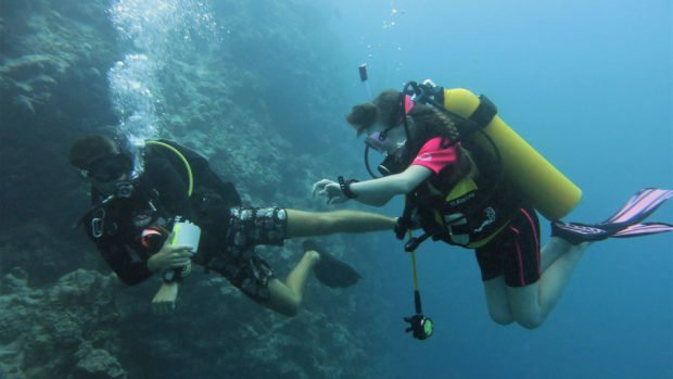 Kids scuba diving Maldives
